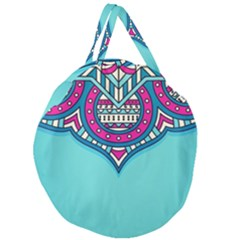 Blue Mandala Giant Round Zipper Tote