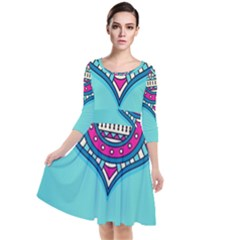 Blue Mandala Quarter Sleeve Waist Band Dress