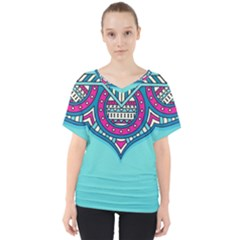 Blue Mandala V-neck Dolman Drape Top