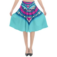 Blue Mandala Flared Midi Skirt