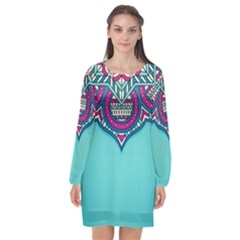 Blue Mandala Long Sleeve Chiffon Shift Dress