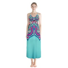 Blue Mandala Button Up Chiffon Maxi Dress