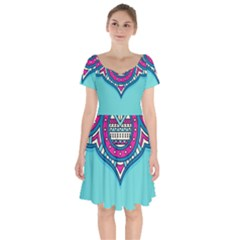 Blue Mandala Short Sleeve Bardot Dress