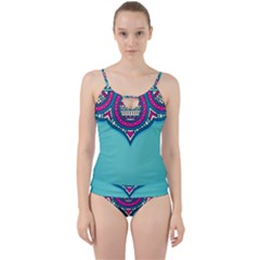 Blue Mandala Cut Out Top Tankini Set