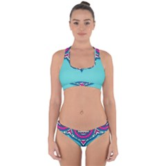 Blue Mandala Cross Back Hipster Bikini Set