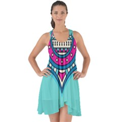 Blue Mandala Show Some Back Chiffon Dress