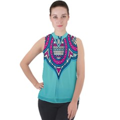 Blue Mandala Mock Neck Chiffon Sleeveless Top