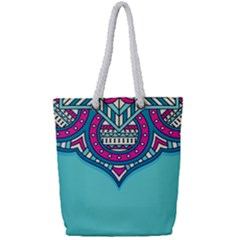 Blue Mandala Full Print Rope Handle Tote (small)