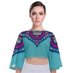Blue Mandala Tie Back Butterfly Sleeve Chiffon Top