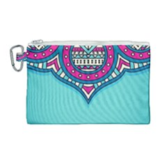 Blue Mandala Canvas Cosmetic Bag (large)