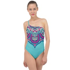 Blue Mandala Classic One Shoulder Swimsuit
