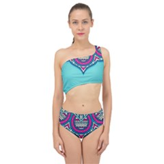 Blue Mandala Spliced Up Two Piece Swimsuit
