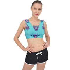 Blue Mandala V-back Sports Bra
