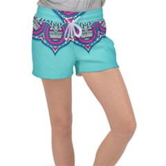 Blue Mandala Velour Lounge Shorts
