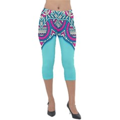 Blue Mandala Lightweight Velour Capri Leggings