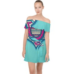 Blue Mandala Off Shoulder Chiffon Dress