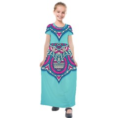 Blue Mandala Kids  Short Sleeve Maxi Dress