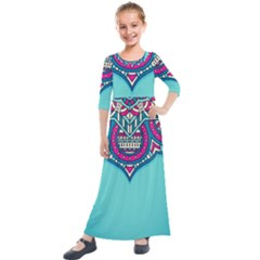 Blue Mandala Kids  Quarter Sleeve Maxi Dress