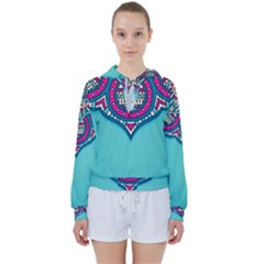 Blue Mandala Women s Tie Up Sweat