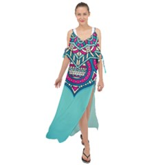 Blue Mandala Maxi Chiffon Cover Up Dress
