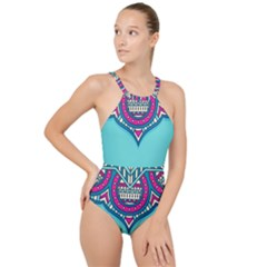 Blue Mandala High Neck One Piece Swimsuit