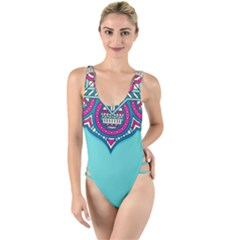 Blue Mandala High Leg Strappy Swimsuit