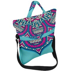Blue Mandala Fold Over Handle Tote Bag