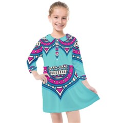 Blue Mandala Kids  Quarter Sleeve Shirt Dress