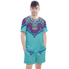 Blue Mandala Men s Mesh Tee And Shorts Set