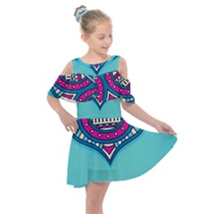 Blue Mandala Kids  Shoulder Cutout Chiffon Dress