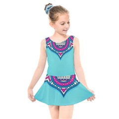 Blue Mandala Kids  Skater Dress Swimsuit