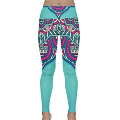 Blue Mandala Lightweight Velour Classic Yoga Leggings