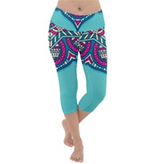 Blue Mandala Lightweight Velour Capri Yoga Leggings