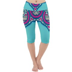 Blue Mandala Lightweight Velour Cropped Yoga Leggings