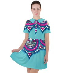Blue Mandala Short Sleeve Shoulder Cut Out Dress
