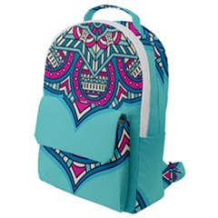 Blue Mandala Flap Pocket Backpack (small)