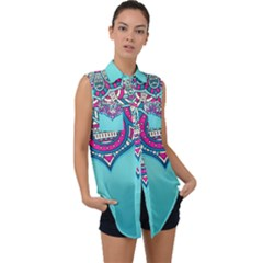 Blue Mandala Sleeveless Chiffon Button Shirt