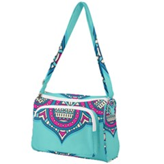 Blue Mandala Front Pocket Crossbody Bag