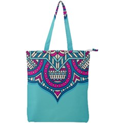 Blue Mandala Double Zip Up Tote Bag