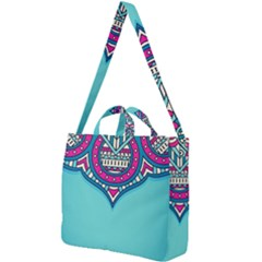 Blue Mandala Square Shoulder Tote Bag