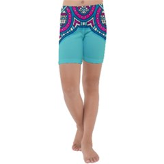 Blue Mandala Kids  Lightweight Velour Capri Yoga Leggings