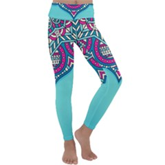 Blue Mandala Kids  Lightweight Velour Classic Yoga Leggings
