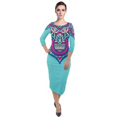 Blue Mandala Quarter Sleeve Midi Velour Bodycon Dress