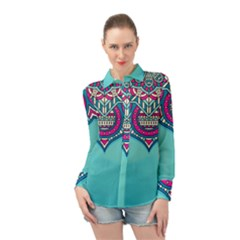 Blue Mandala Long Sleeve Chiffon Shirt