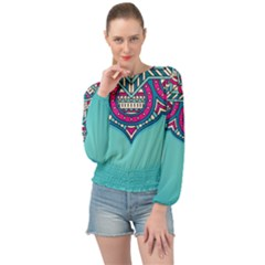 Blue Mandala Banded Bottom Chiffon Top