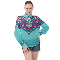 Blue Mandala High Neck Long Sleeve Chiffon Top