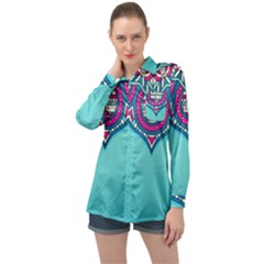 Blue Mandala Long Sleeve Satin Shirt