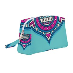 Blue Mandala Wristlet Pouch Bag (medium)