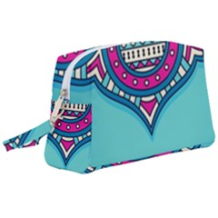 Blue Mandala Wristlet Pouch Bag (large)