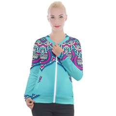Blue Mandala Casual Zip Up Jacket